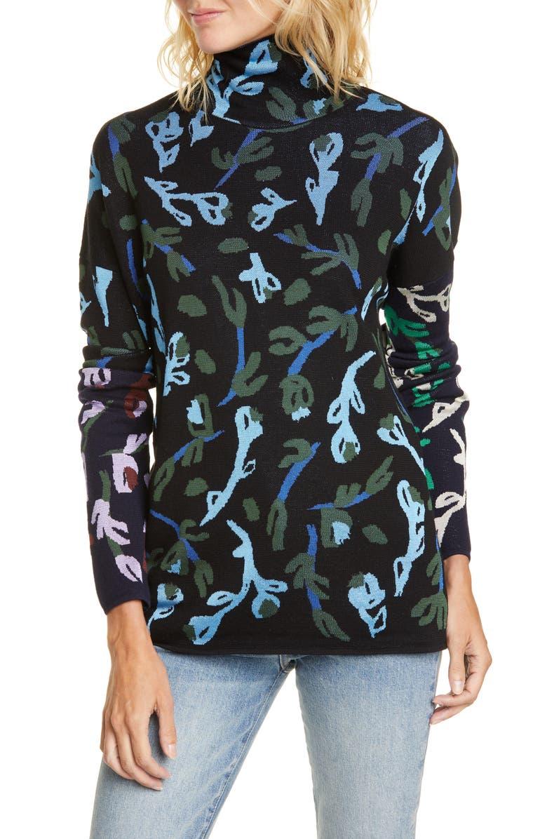 CHRISTIAN WIJNANTS Kajena Floral Jacquard Sweater, Main, color, BLACK/ NAVY FLOWER MIX