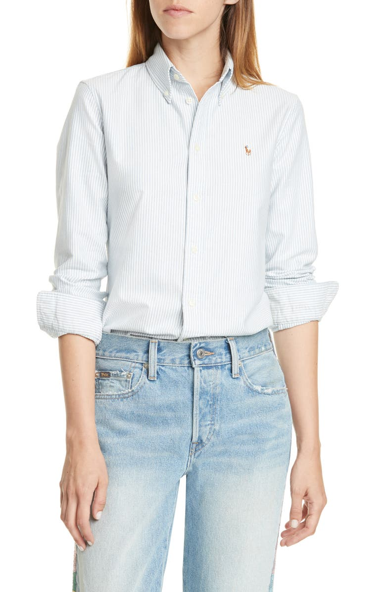 POLO RALPH LAUREN Harper Stripe Oxford Button-Down Shirt, Main, color, BLUE/ WHITE