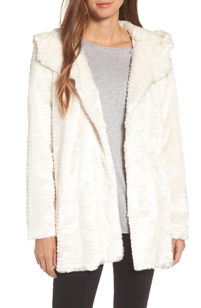 VINCE CAMUTO Hooded Faux Fur Coat, Main, color, 100