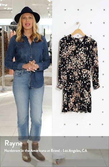 Mottled Animal Print Long Sleeve Shirtdress, sales video thumbnail