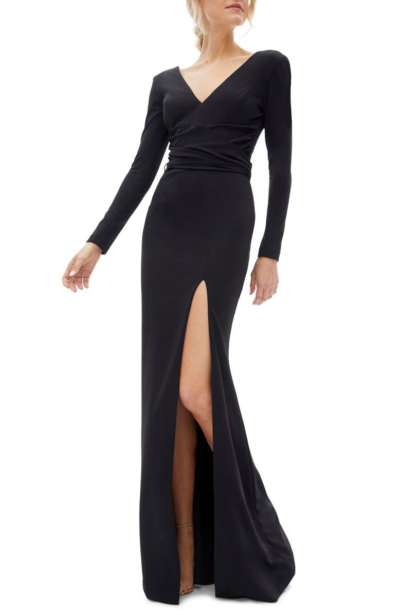 DRESS THE POPULATION Carmen Long Sleeve V-Neck Gown, Main, color, 001