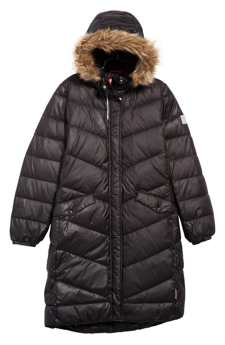 REIMA Satu Waterproof Quilted Down Hooded Jacket, Main, color, BLACK