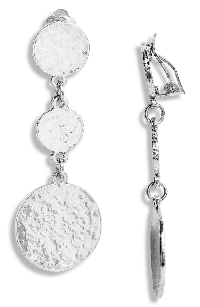 KARINE SULTAN Linear Drop Earrings, Main, color, SILVER