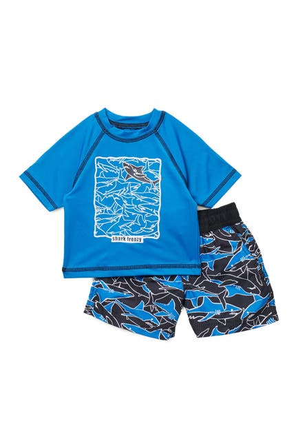 Image of iXtreme Shark Frenzy Rashguard Top & Swim Shorts Set