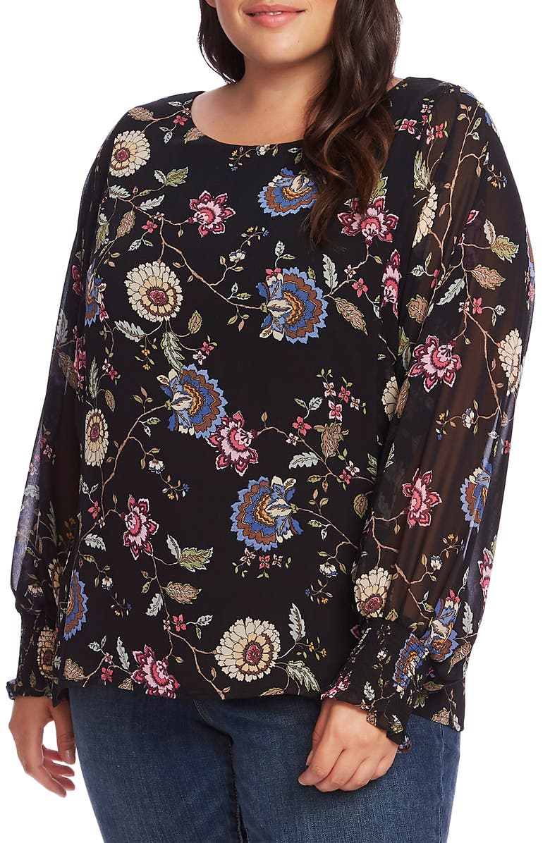 VINCE CAMUTO Floral Batwing Sleeve Blouse, Main, color, 001