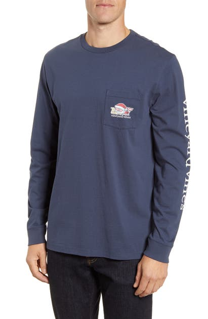Vineyard Vines T-shirts 2019 SANTA WHALE LONG-SLEEVE POCKET T-SHIRT