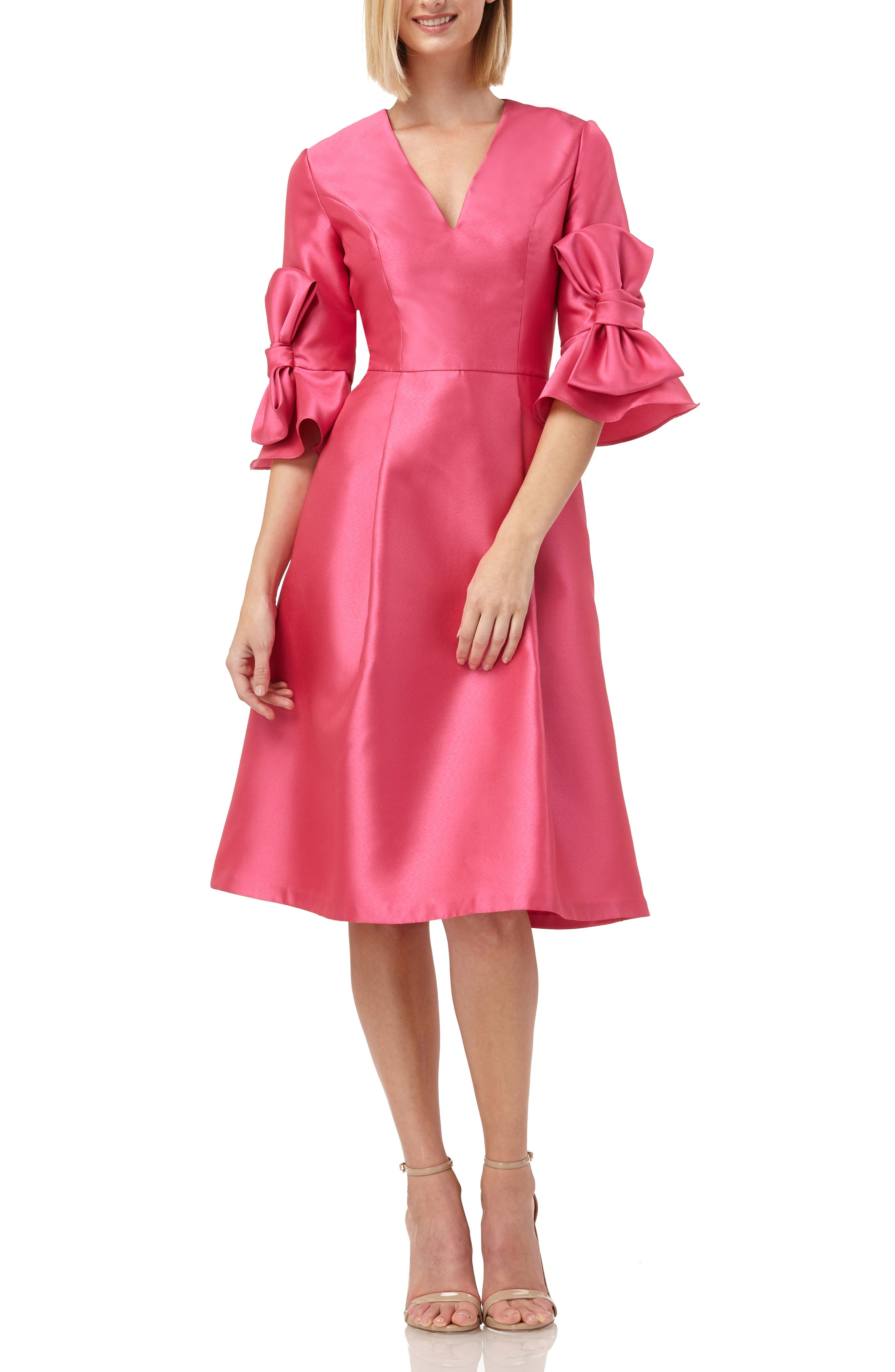 Kay Unger Bow Sleeve Mikado Fit & Flare Dress, Coral