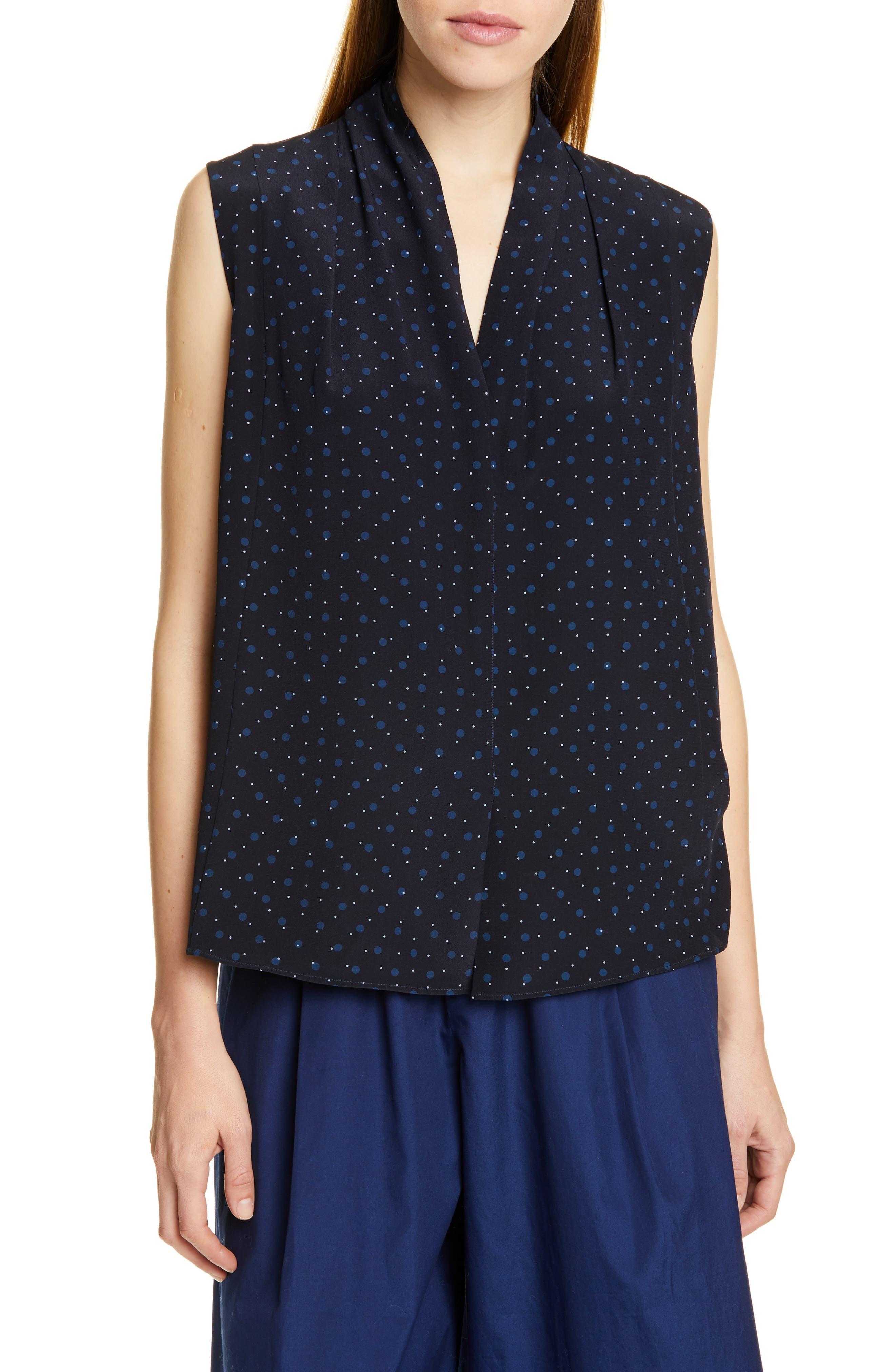Shadow Dot Sleeveless V-Neck Silk Blouse, Main, color, INDIGO