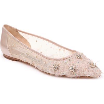 Badgley Mischka Adrienne Crystal Embellished Skimmer Flat- Beige