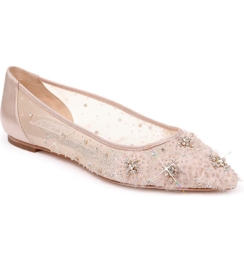 BADGLEY MISCHKA COLLECTION Badgley Mischka Adrienne Crystal Embellished Skimmer Flat, Main, color, NUDE SATIN
