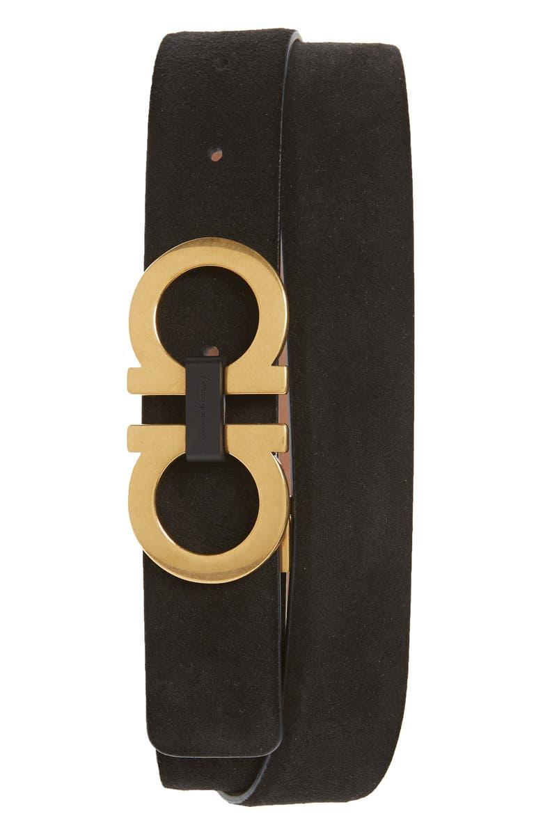 SALVATORE FERRAGAMO Suede Leather Belt, Main, color, NERO