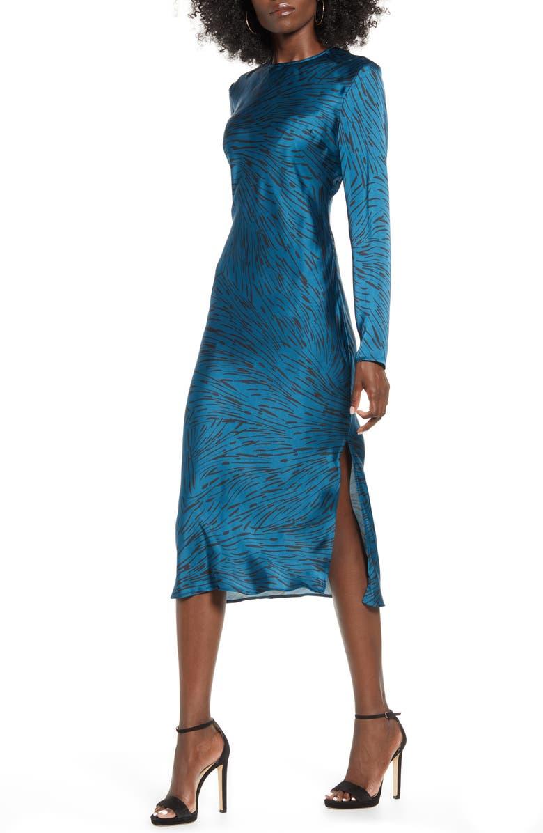 LEITH Bias Cut Side Slit Satin Dress, Main, color, TEAL MOROCCAN ANIMALESK STR
