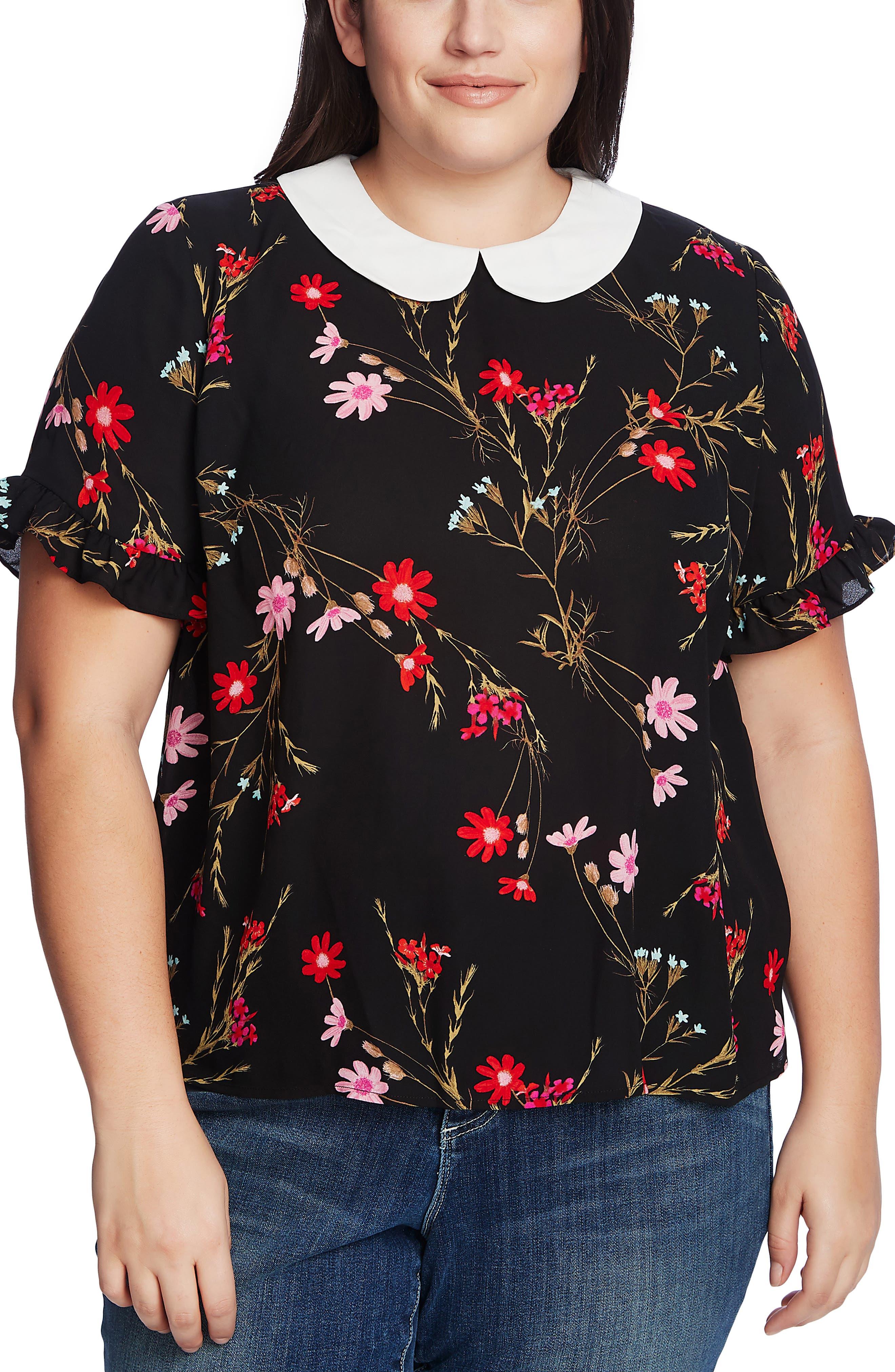 1930s Style Blouses, Shirts, Tops | Vintage Blouses Plus Size Womens Cece Enchanted Wildflower Collar Blouse $41.40 AT vintagedancer.com