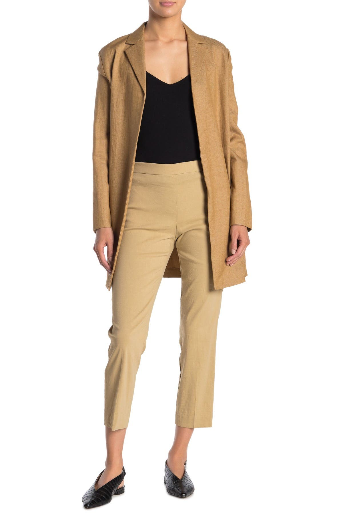 Busy Smart Beige Ladies Trousers Linen Look