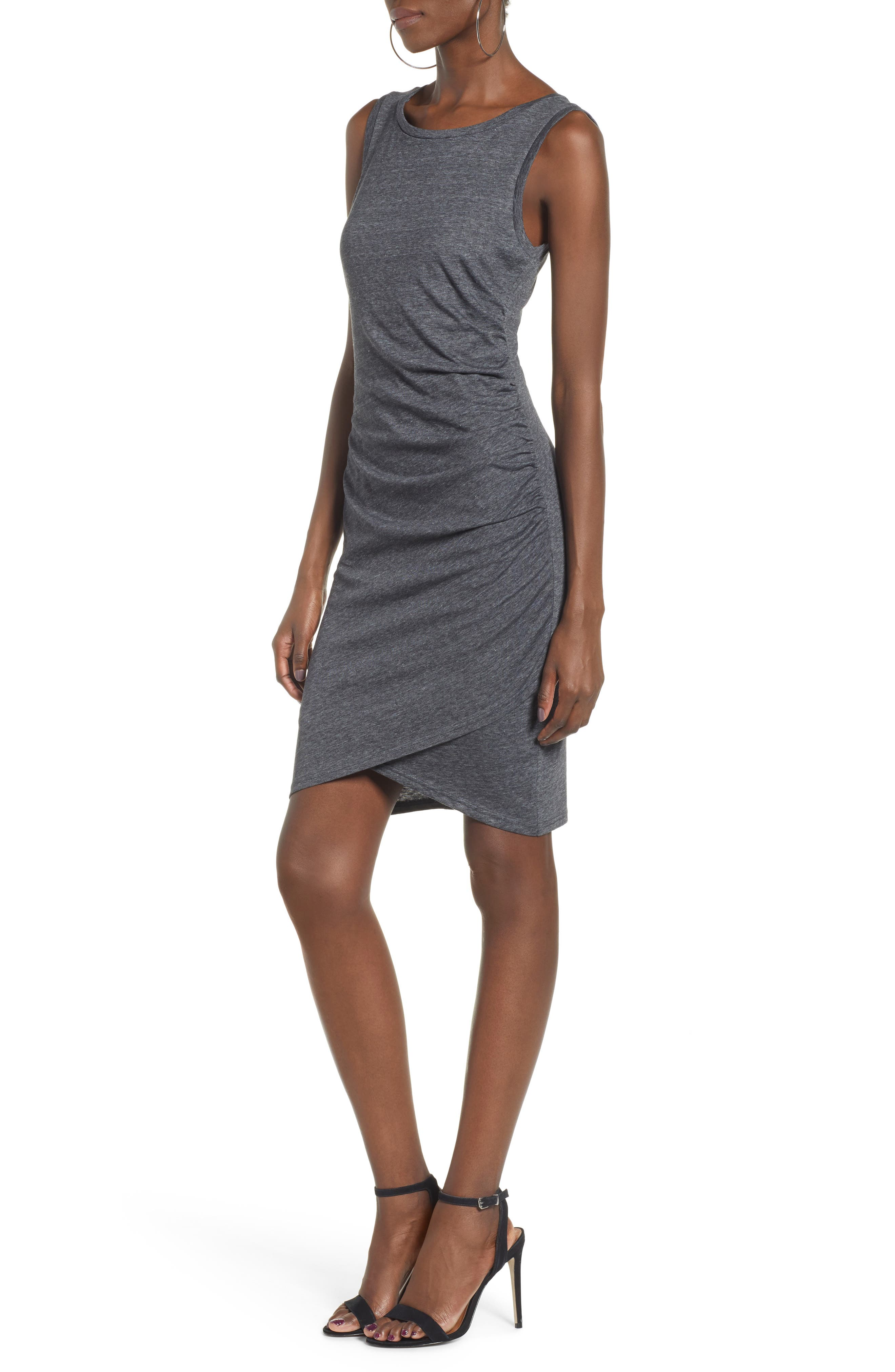 ,                             Ruched Body-Con Tank Dress,                             Alternate thumbnail 4, color,                             GREY MEDIUM CHARCOAL HEATHER
