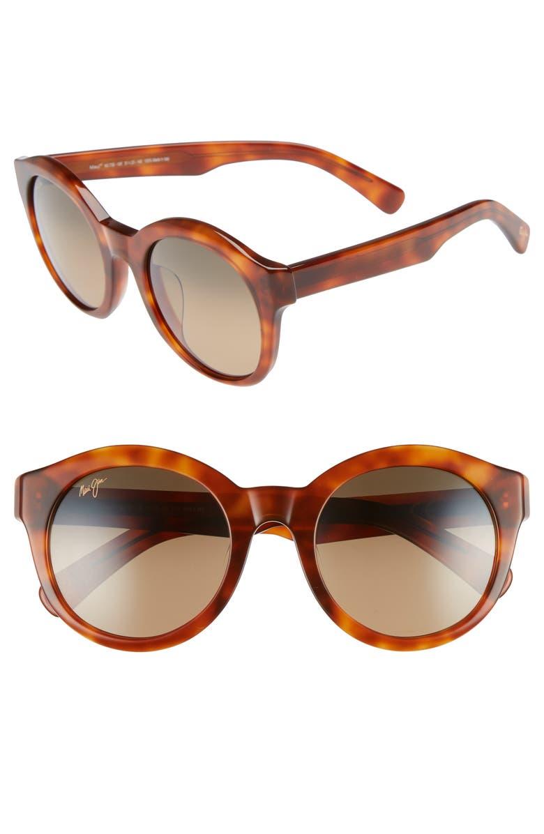 MAUI JIM Jasmine 51mm PolarizedPlus2<sup>®</sup> Round Sunglasses, Main, color, KOA TORTOISE/ BRONZE