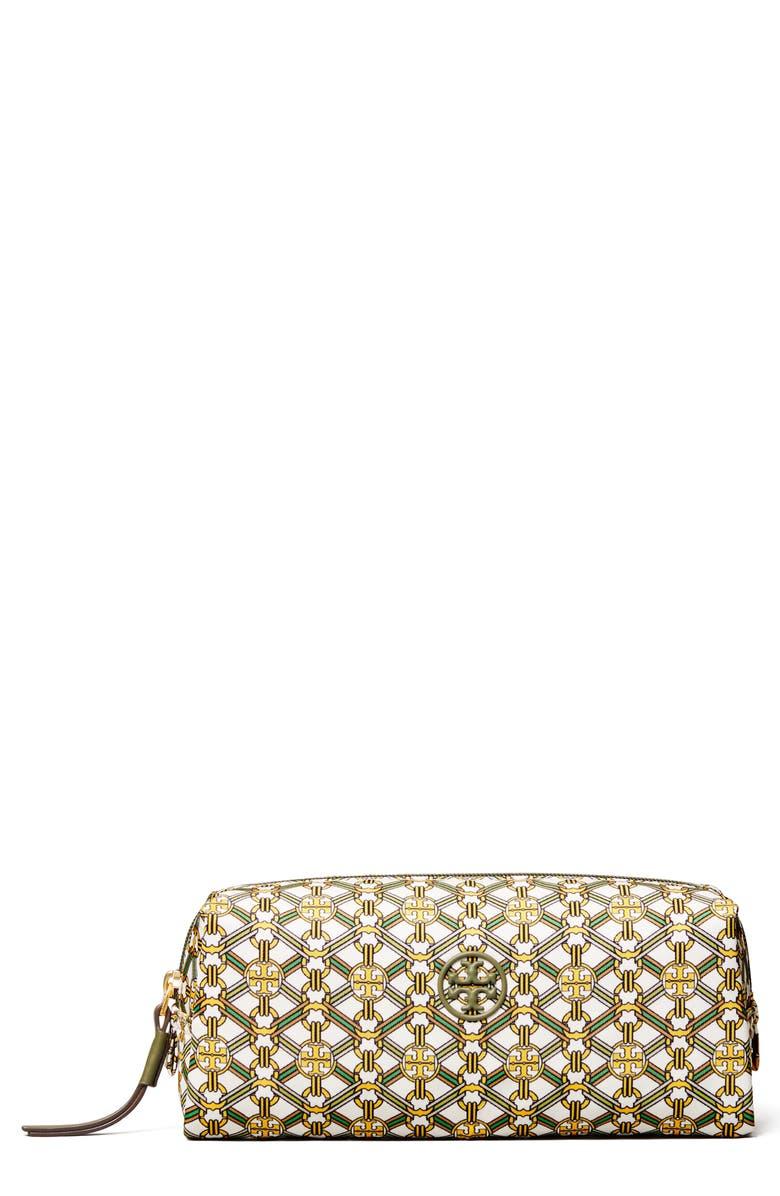TORY BURCH Cosmetics Bag, Main, color, YELLOW GEMINI LINK MEDALLION