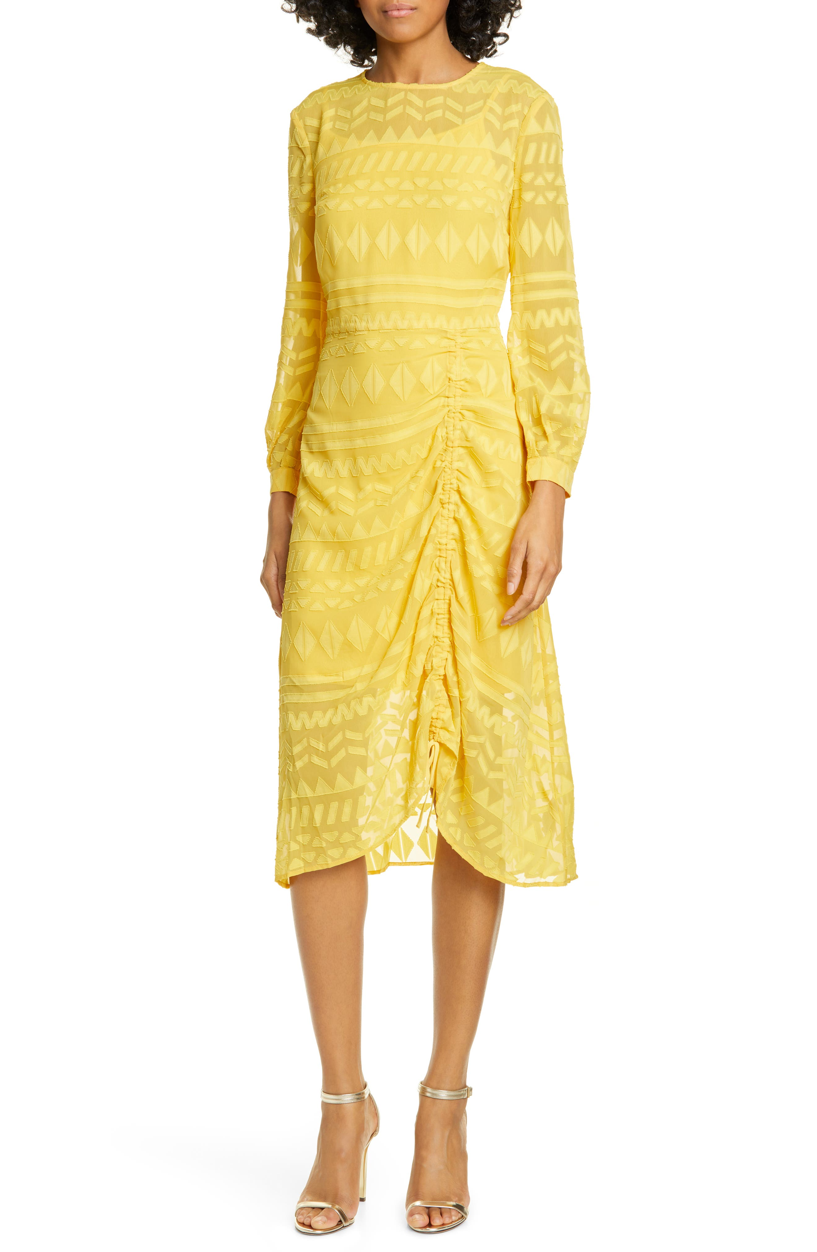 Ted Baker London Safa Long Sleeve Ruched Burnout Lace Dress, Yellow