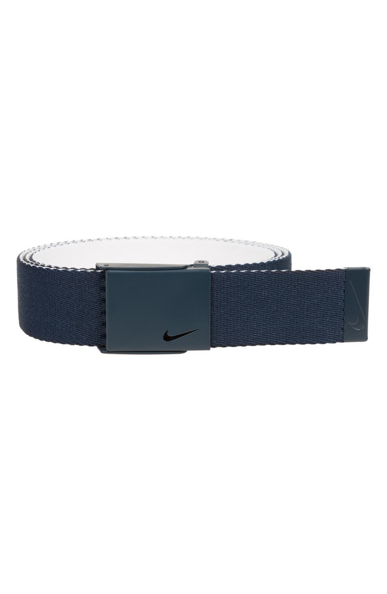NIKE Essentials Reversible Webbed Belt, Main, color, COLLEGE NAVY/ WHITE