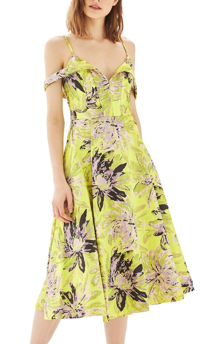 TOPSHOP Floral Jacquard Midi Dress, Main, color, 320