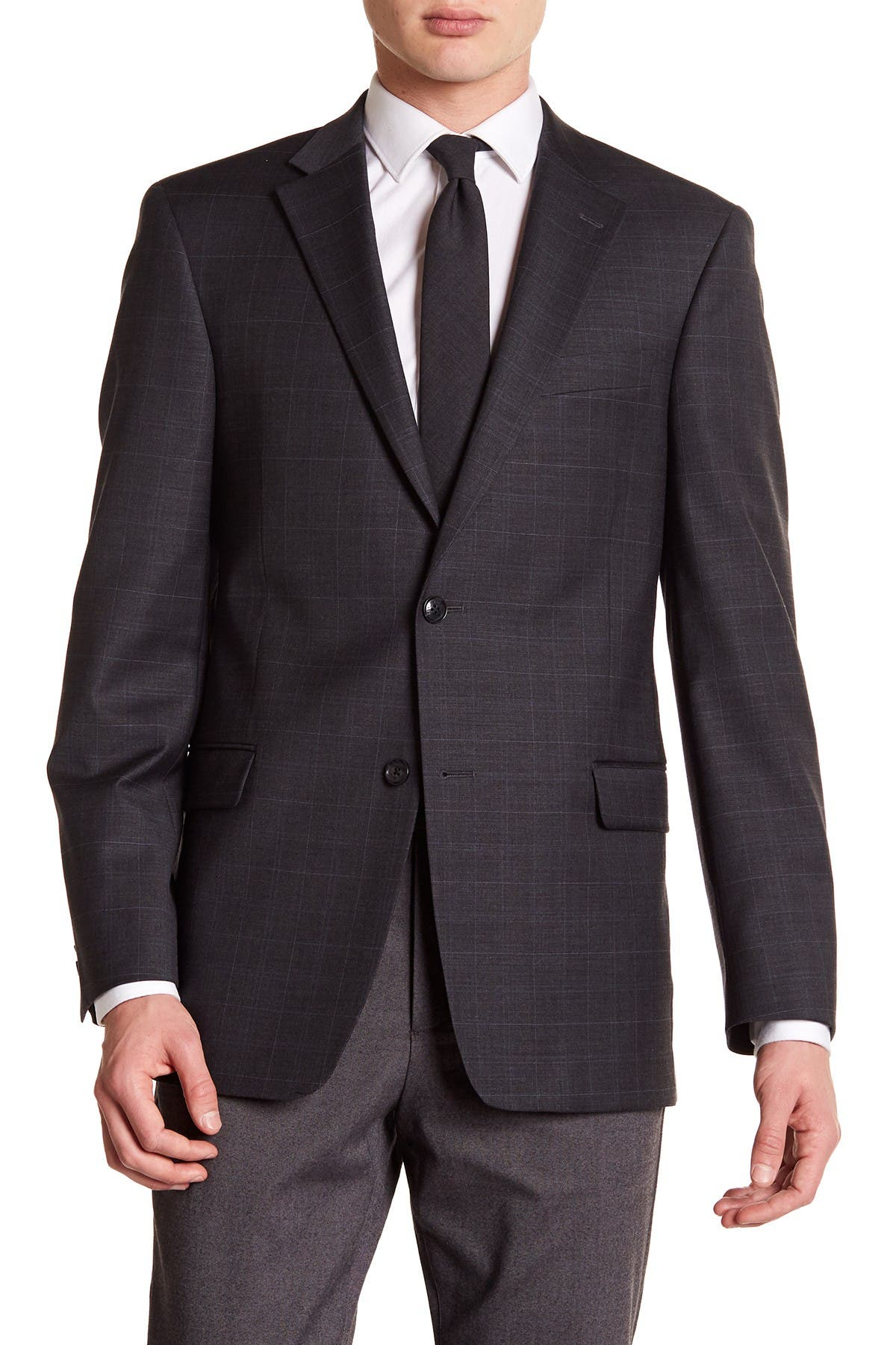 Image of Tommy Hilfiger Adams Modern Fit Flex Performance Wool Blend Suit Separates Jacket - Extended Sizes Available