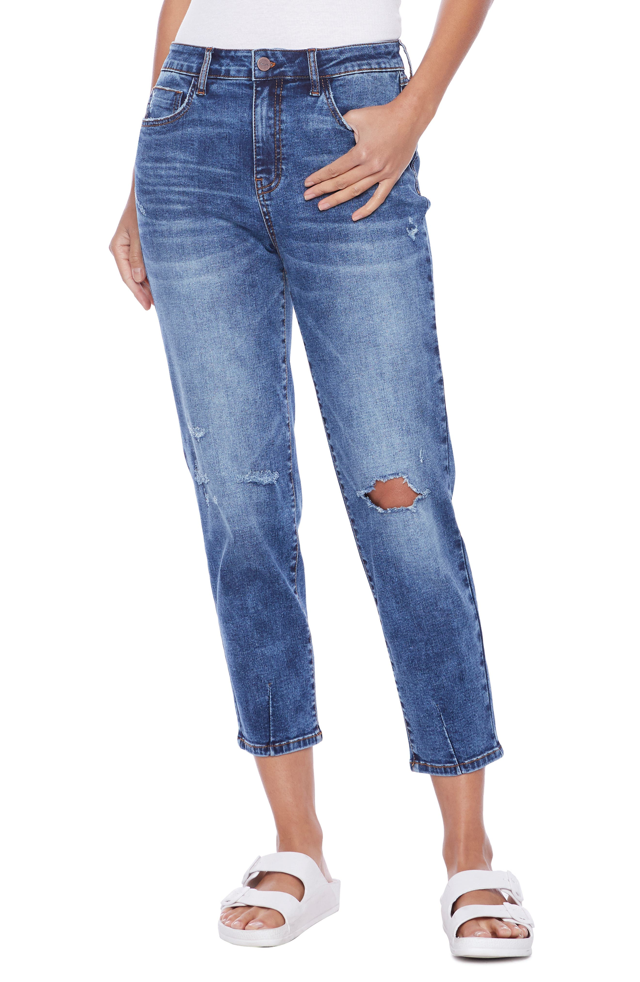 Clever High Waist Ripped Ankle Slim Straight Leg Jeans