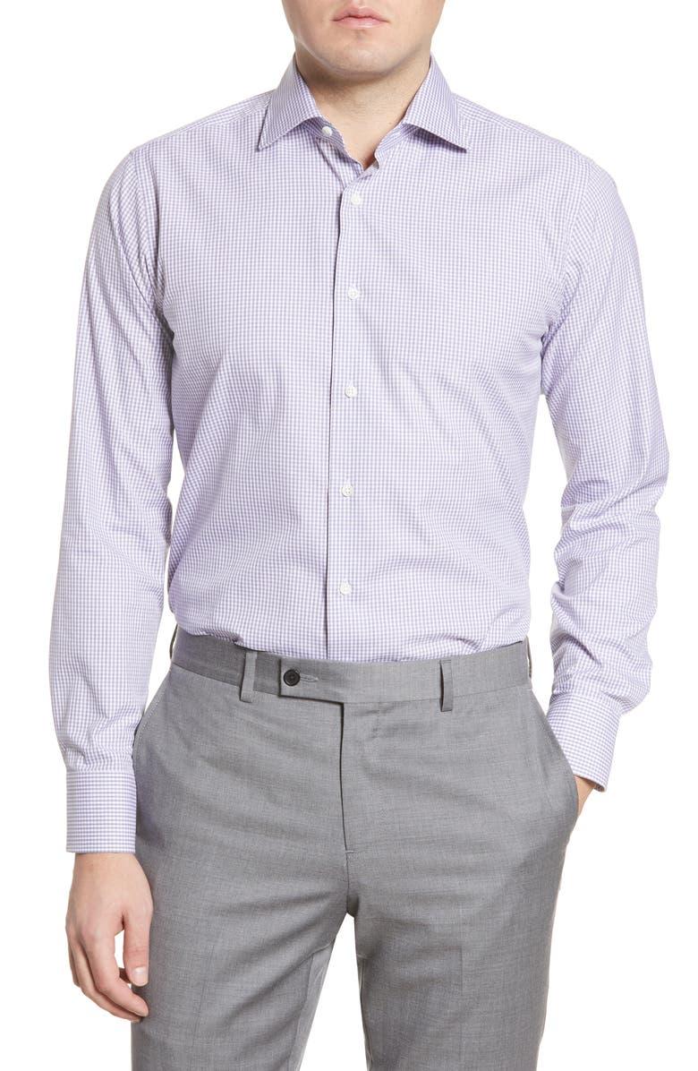 CANALI Regular Fit Check Dress Shirt, Main, color, PURPLE