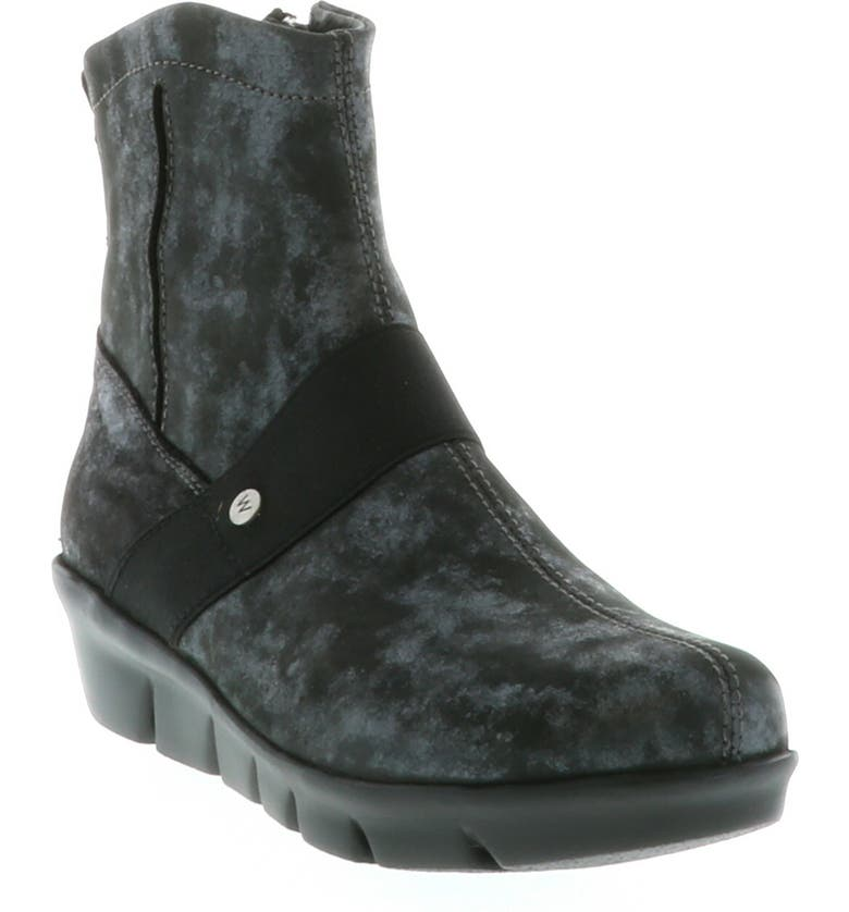 WOLKY Omni Wedge Bootie, Main, color, BLACK NUBUCK LEATHER