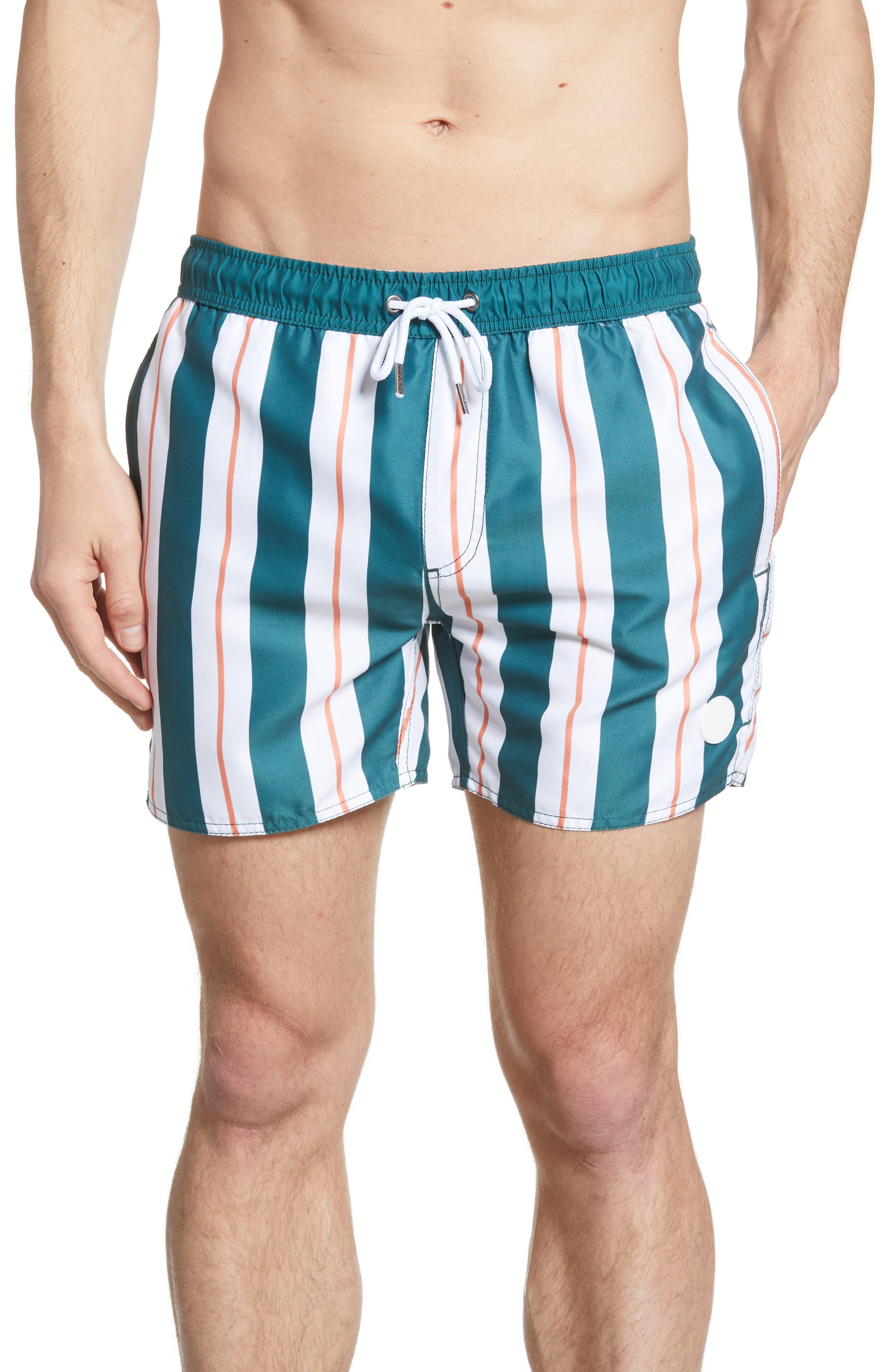 Rhythm Vertical Stripe Print Swim Trunks, Green