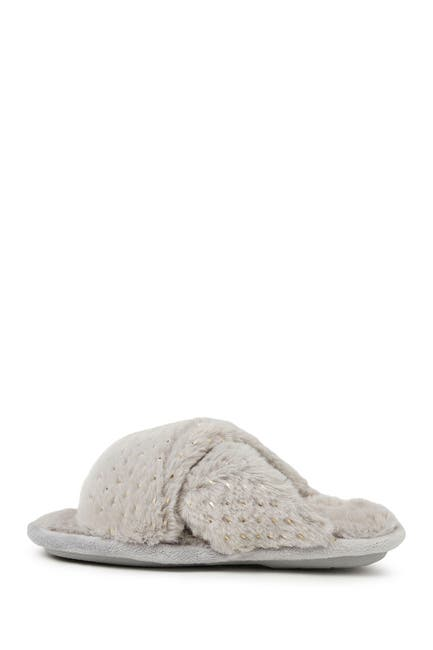 Image of Dearfoams Ava Faux Fur Sparkle Crossband Slipper
