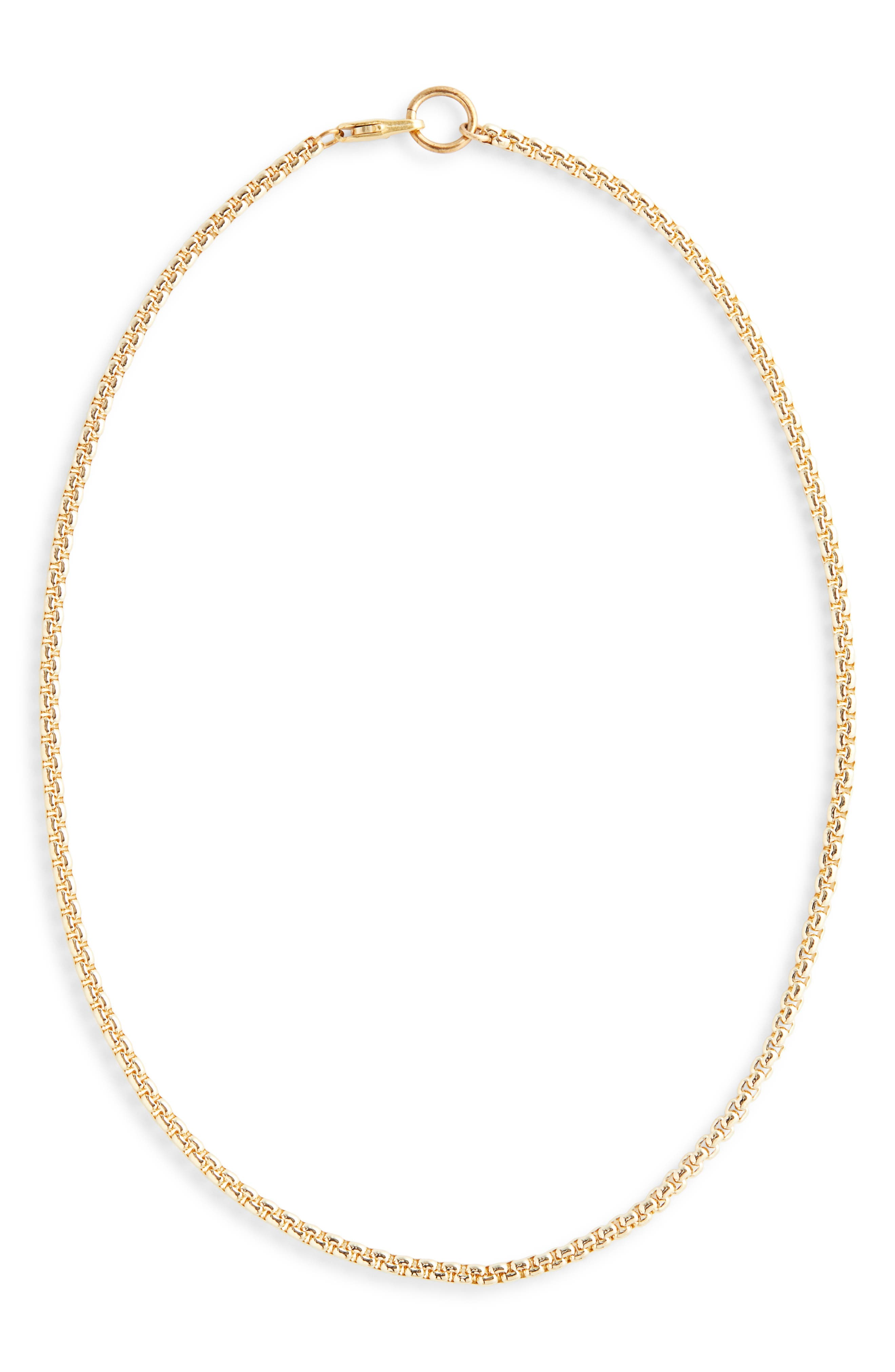 Box Chain Necklace, Main, color, BRASS
