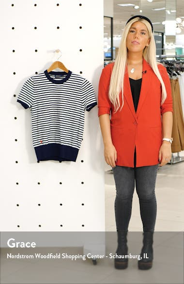 Stripe Short Sleeve Cotton Sweater, sales video thumbnail