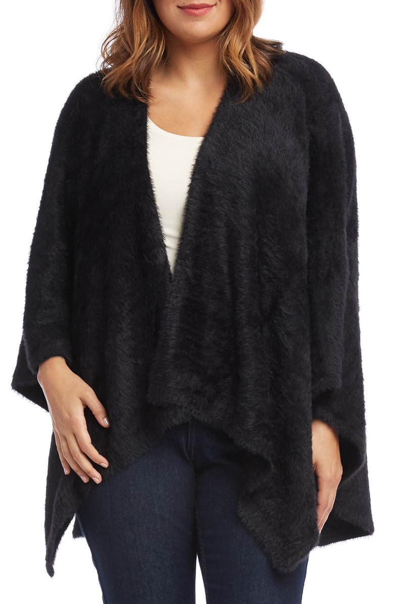 KAREN KANE Plush Poncho, Main, color, BLACK