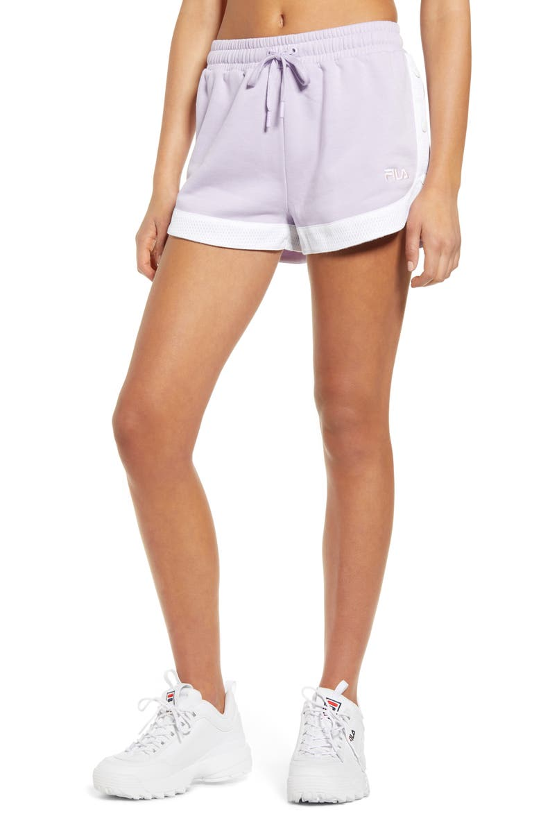 FILA Danita Tear Away Shorts, Main, color, PASTEL LILAC/ WHITE