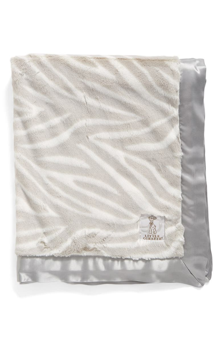 LITTLE GIRAFFE Luxe<sup>™</sup> Zebra Print Blanket, Main, color, SILVER