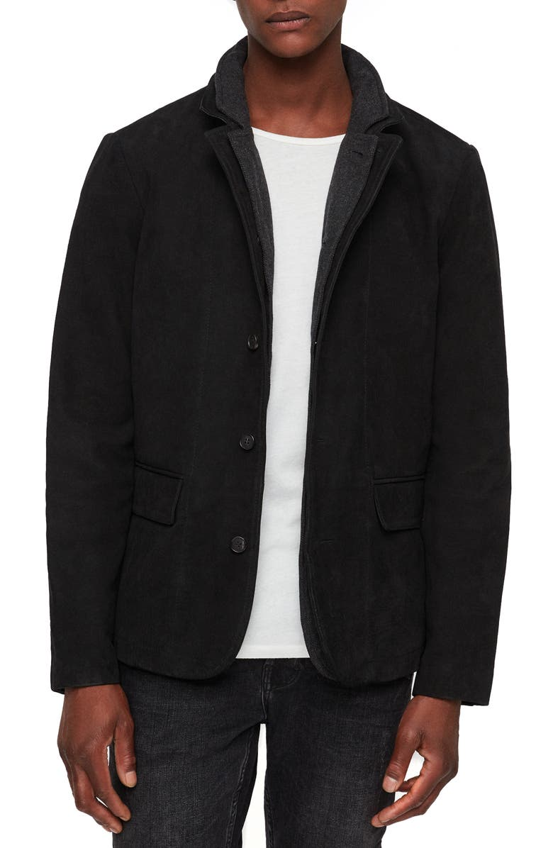 ALLSAINTS Survey Regular Fit Leather Blazer, Main, color, WASHED BLACK