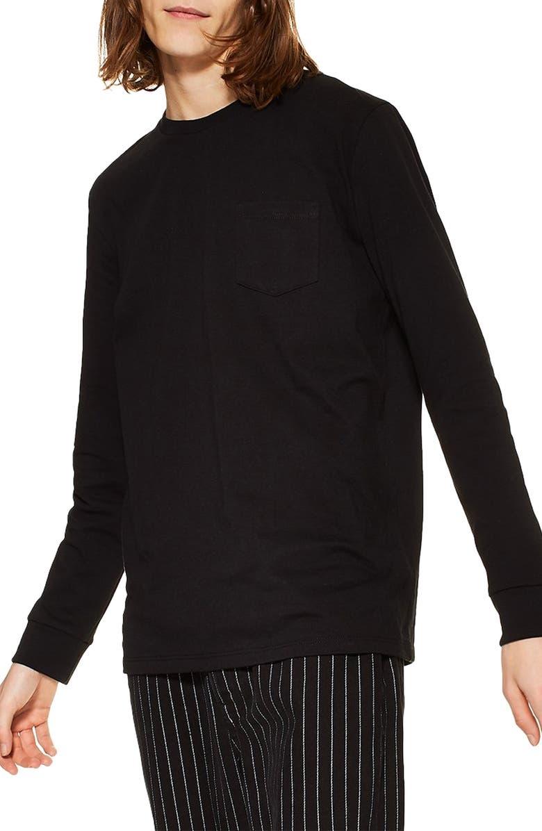 TOPMAN Skater Long Sleeve T-Shirt, Main, color, 001