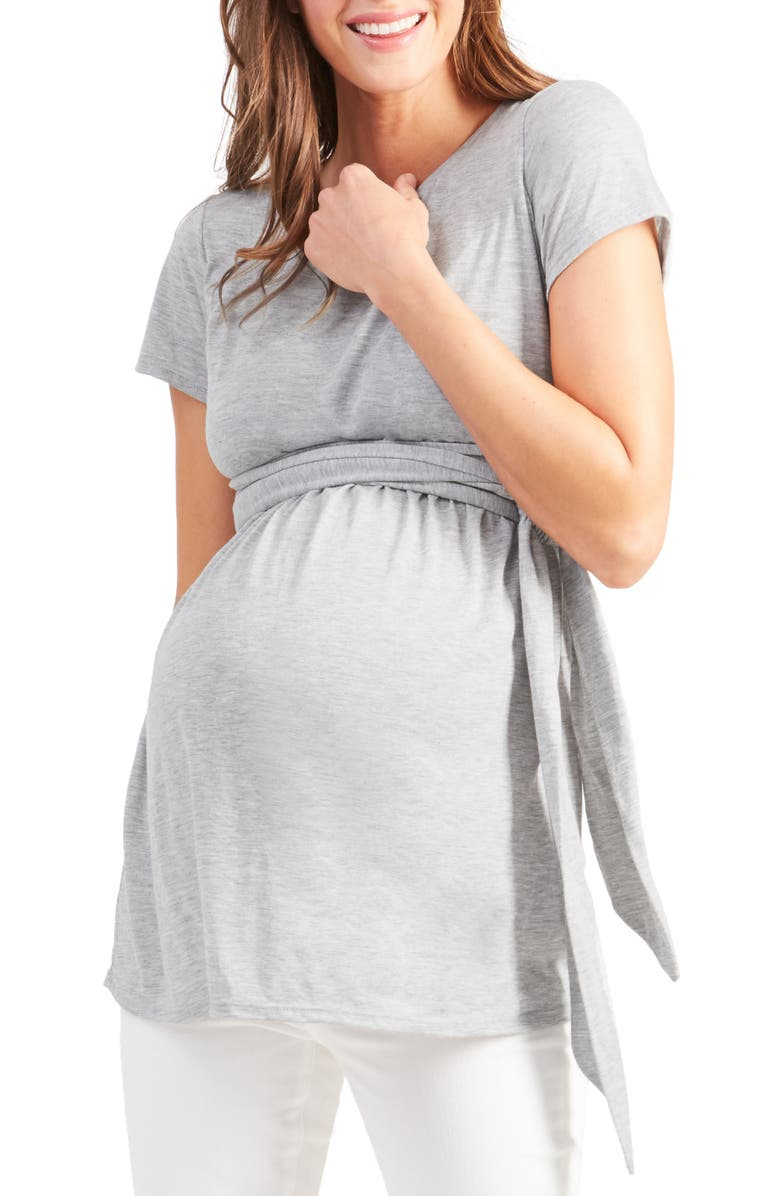 INGRID & ISABEL<SUP>®</SUP> Short Sleeve Tie Waist Maternity/Nursing Top, Main, color, 020