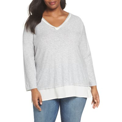 Plus Size Vince Camuto Woven Hem Layered Top, Grey