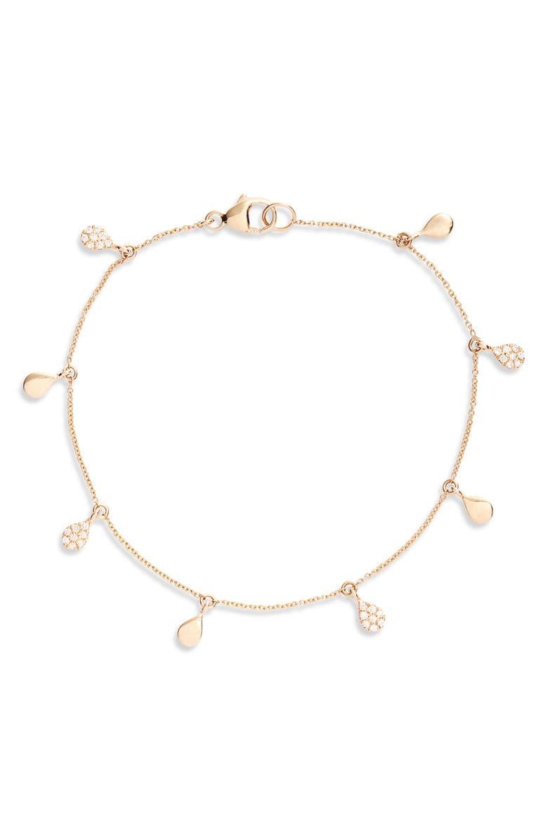 DANA REBECCA DESIGNS Diamond & Disc Dangle Bracelet, Main, color, YELLOW GOLD