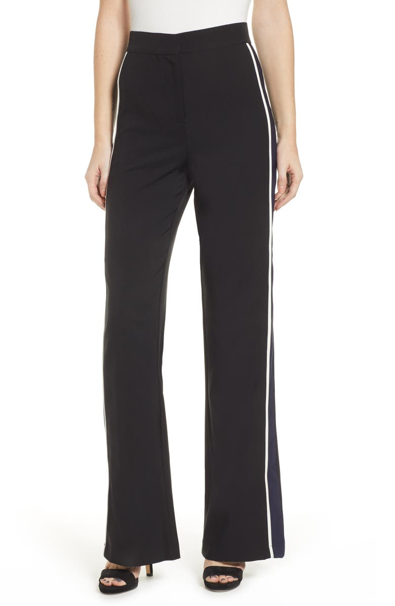 SOCIALITE Racing Stripe Trousers, Main, color, BLACK/ NAVY