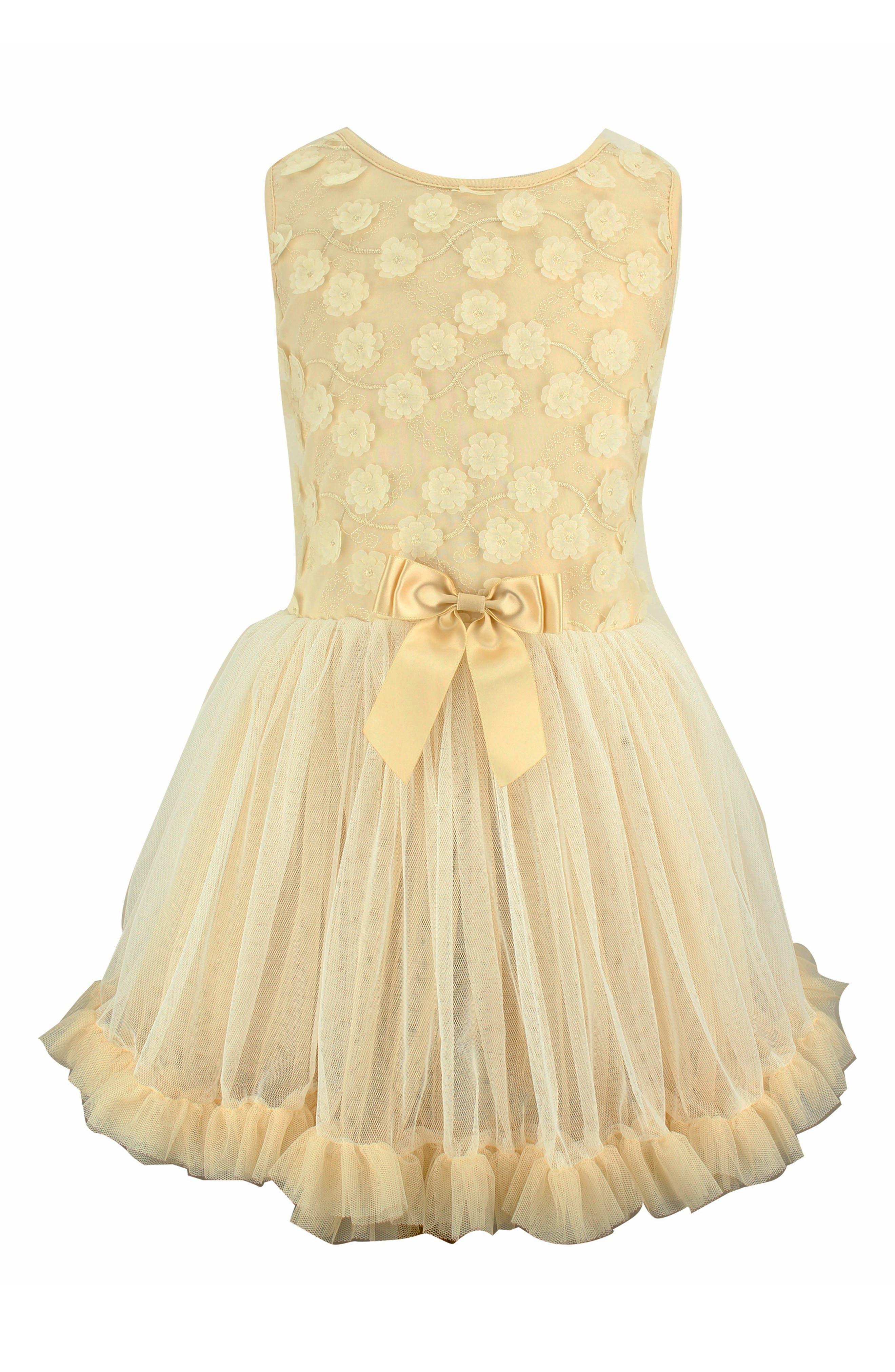 ,                             Flower Tulle Dress,                             Main thumbnail 1, color,                             IVORY