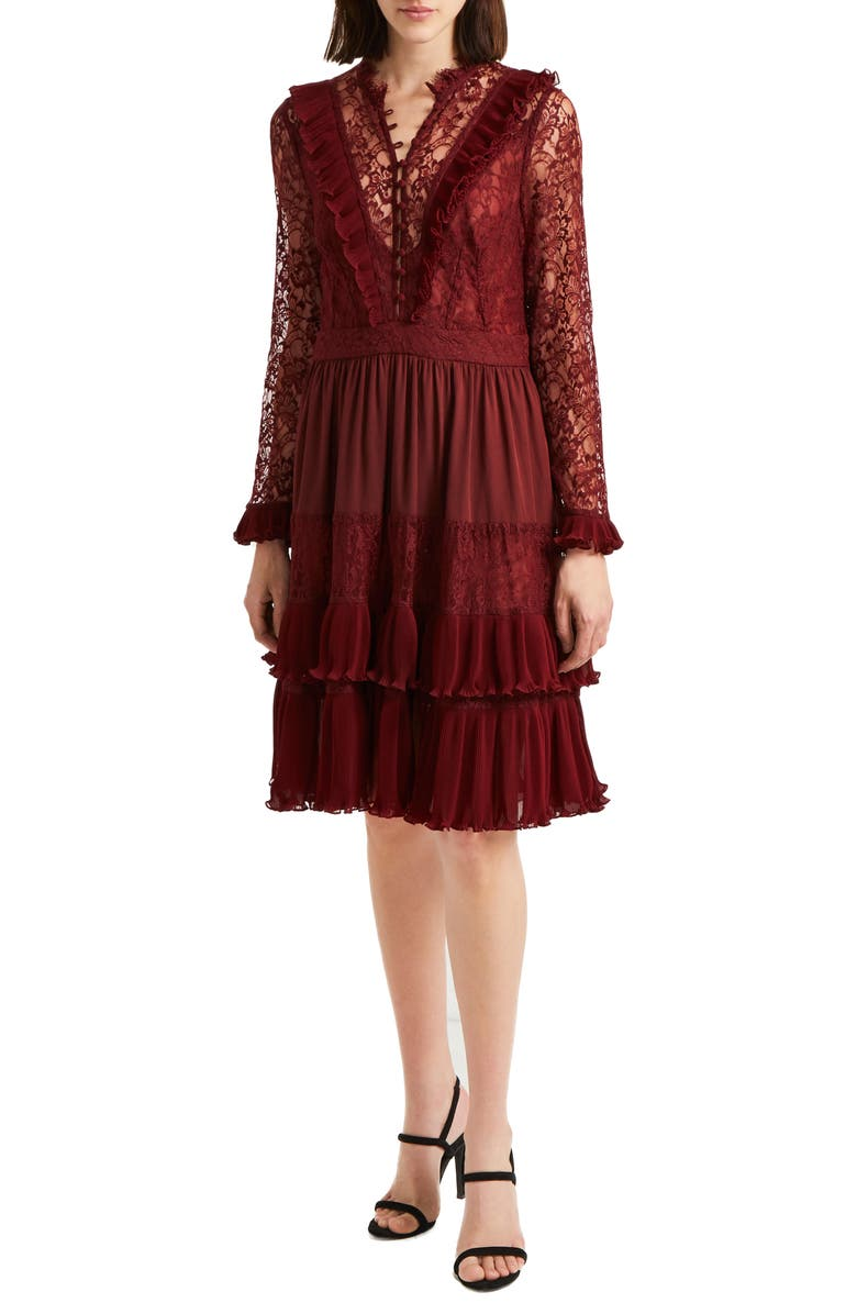 FRENCH CONNECTION Clandre Lace Fit & Flare Dress, Main, color, OSSO RED