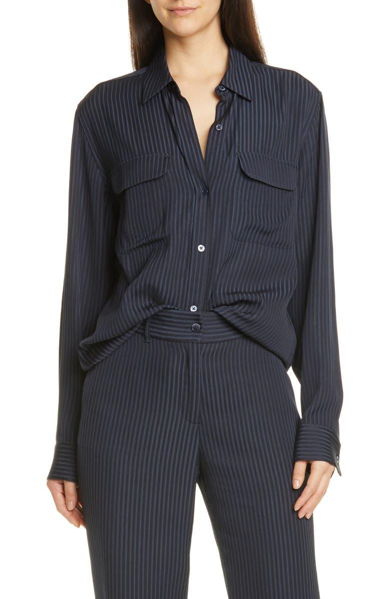 EQUIPMENT Signature Stripe Shirt, Main, color, ECLIPSE