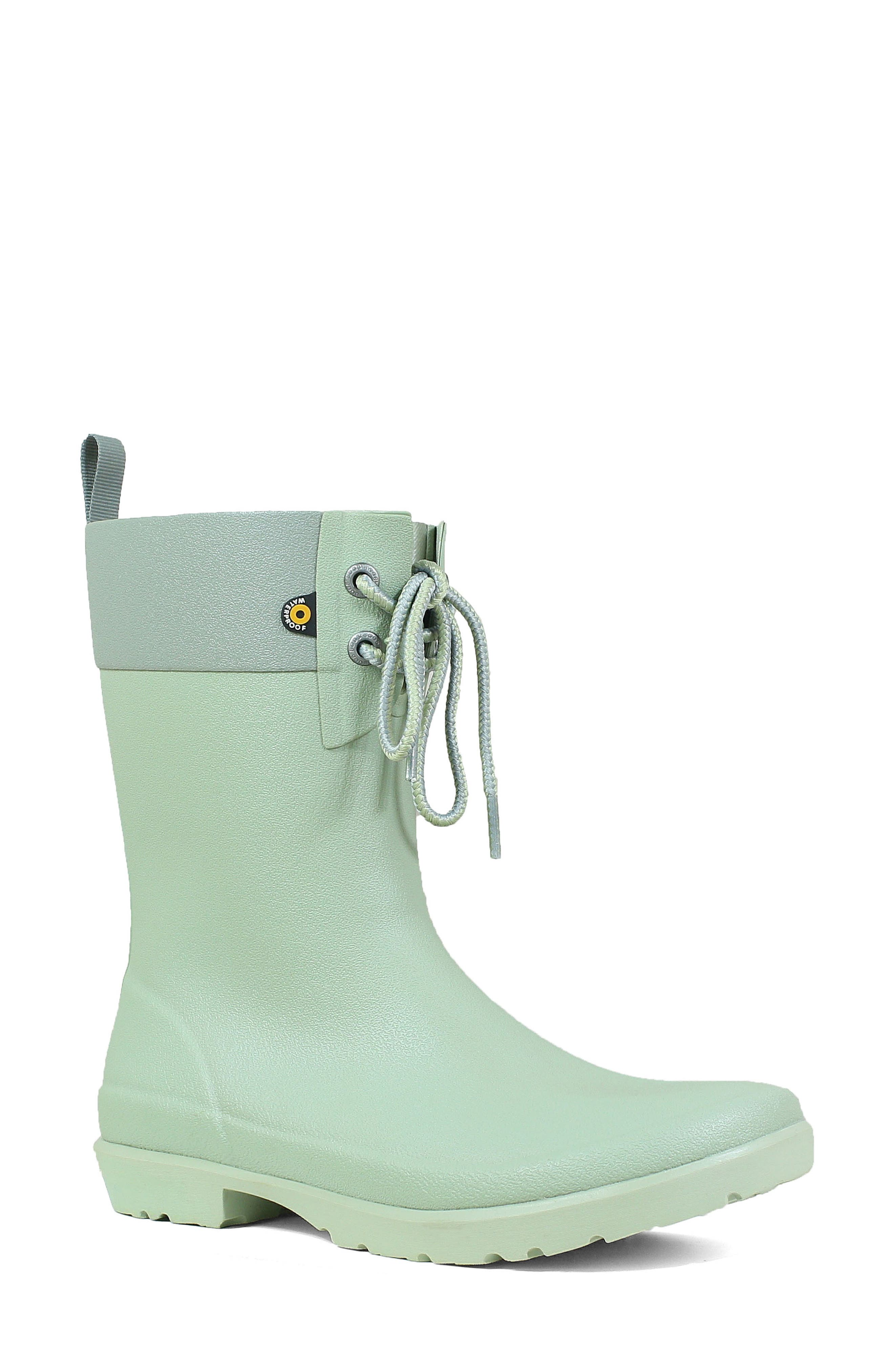 Bogs Floral Lace-Up Waterproof Rain Boot, Green