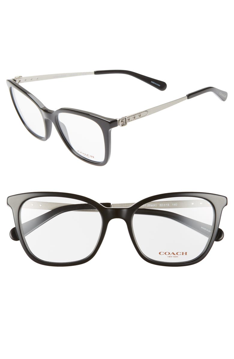 COACH 53mm Optical Glasses, Main, color, 001