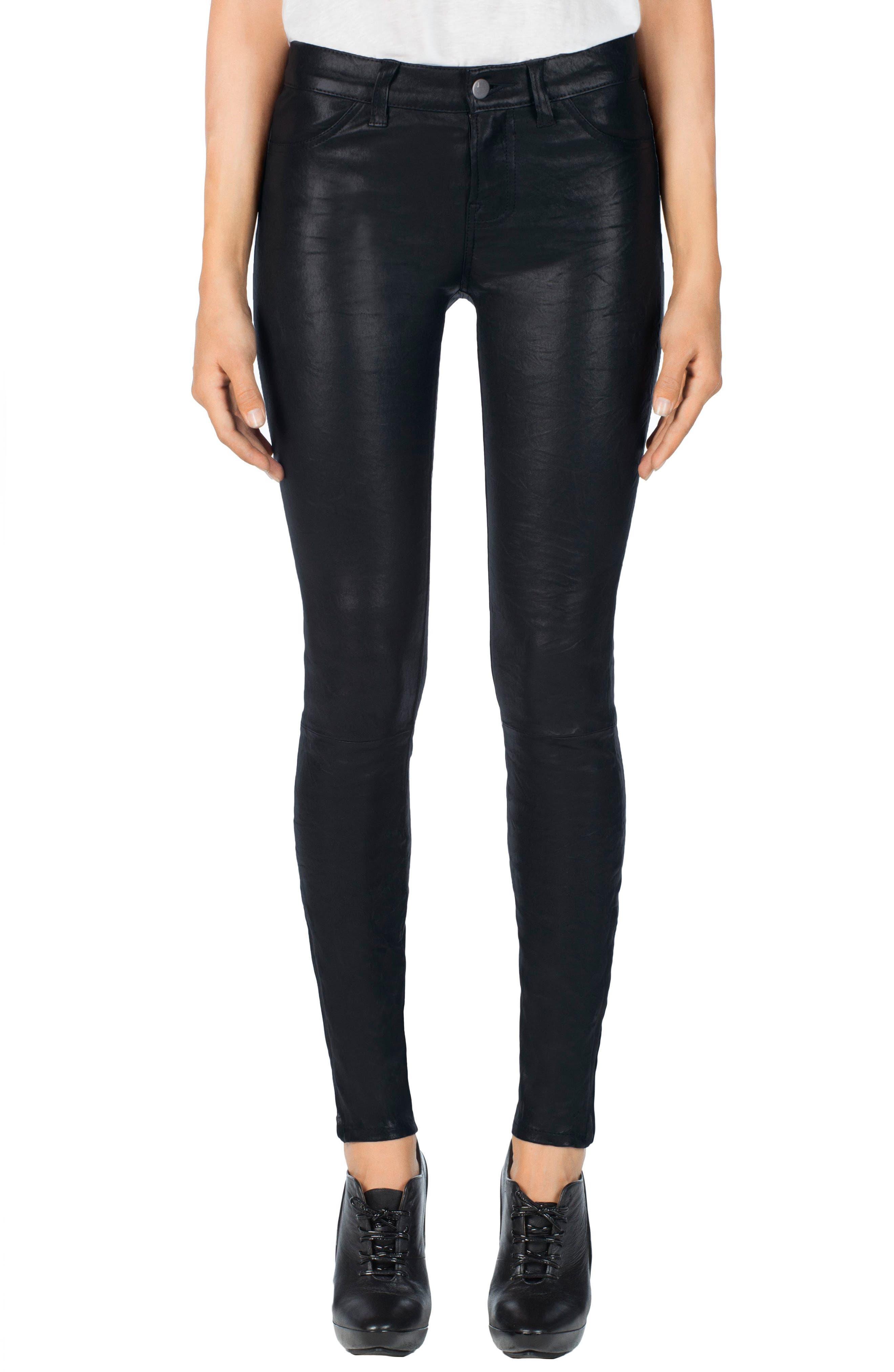 ,                             '8001' Lambskin Leather Pants,                             Main thumbnail 63, color,                             402