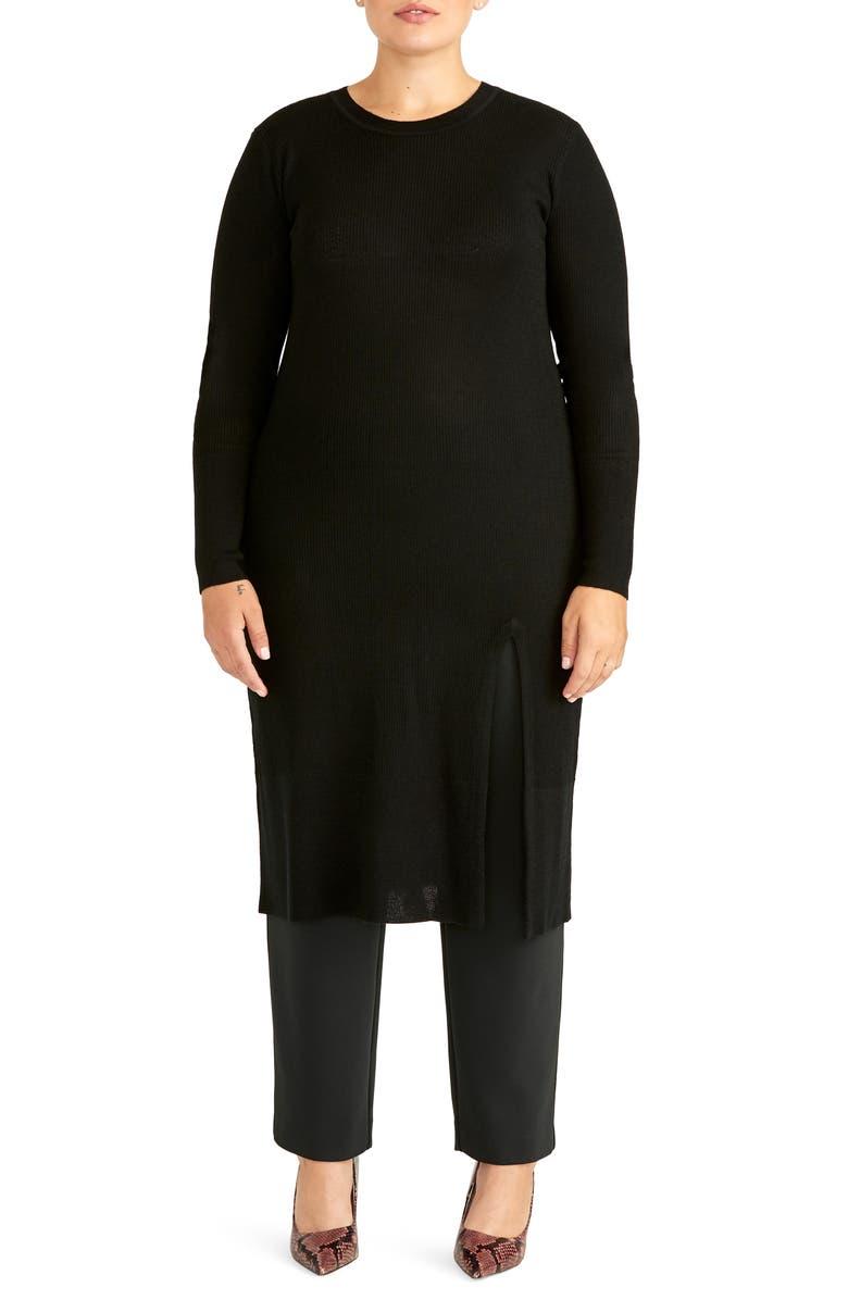 RACHEL ROY COLLECTION Long Over Lean Sweater, Main, color, BLACK