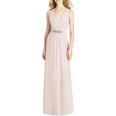 Jenny Packham Jewel Belt Chiffon Gown, Pink