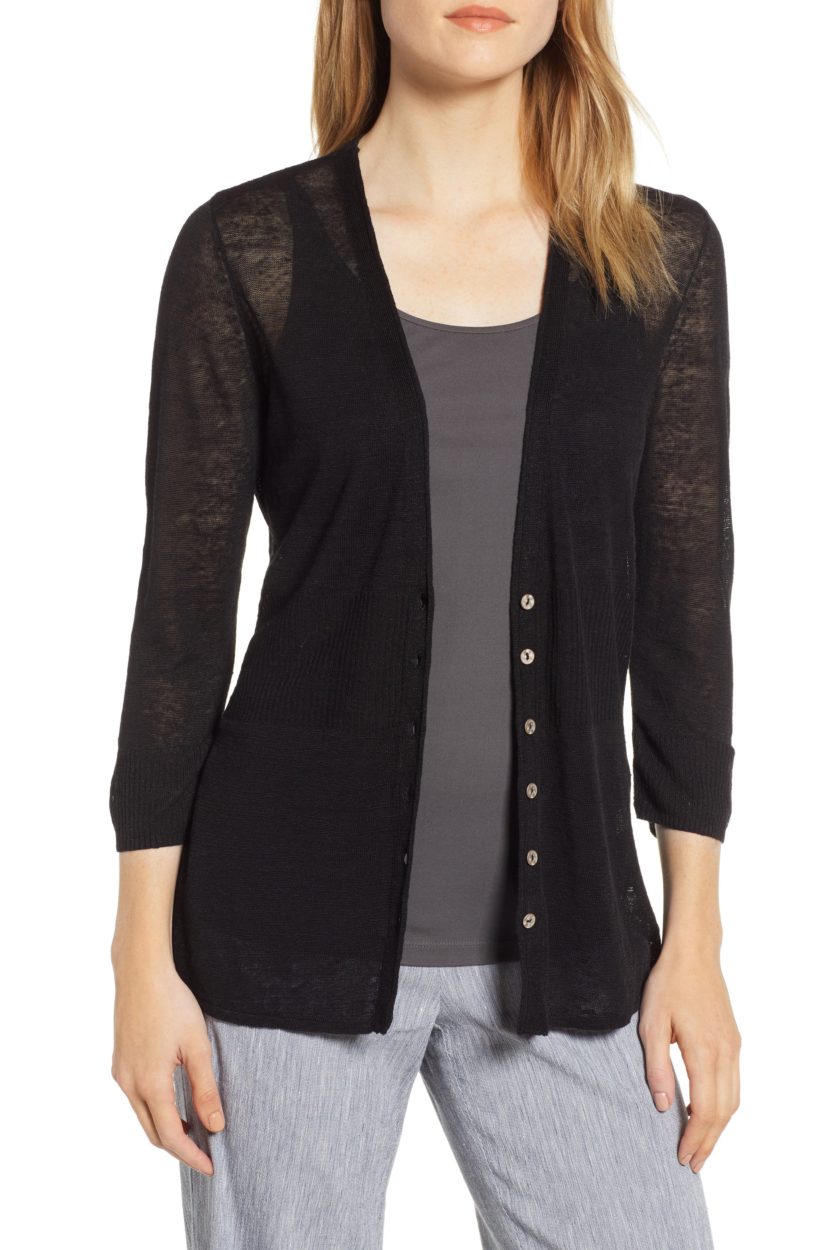 Petite Nic+Zoe Back Of The Chair Cardigan, Black